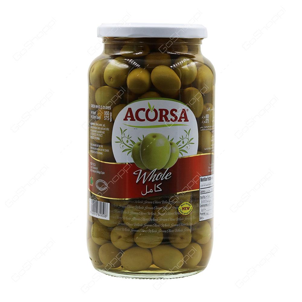 Acorsa Whole Green Olives 950 g