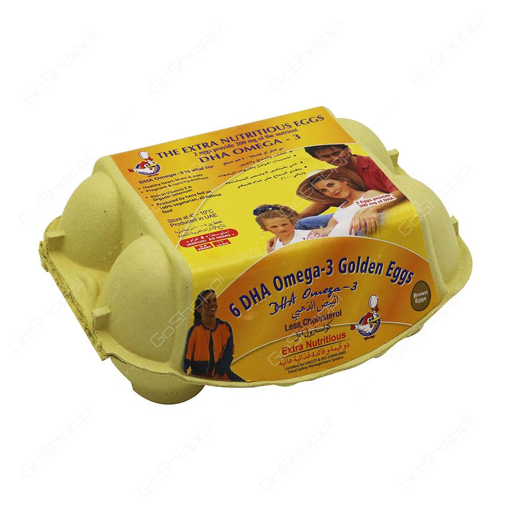 Al Jazira Brown Eggs 6 D H A Omega 3 Golden Eggs Medium 6 pcs