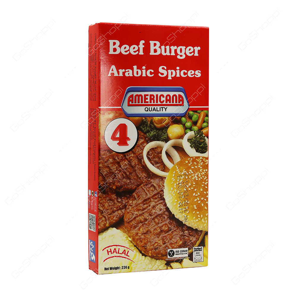 Americana Quality Beef Burger Arabic Spices Halal 4 pcs