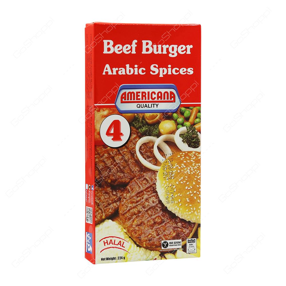 Americana Quality Beef Burger Arabic Spices Halal 8 pcs