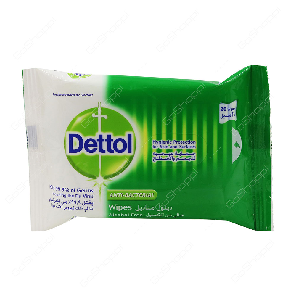 Dettol Anti Bacterial Wipes Alcohol Free 20 Wipes