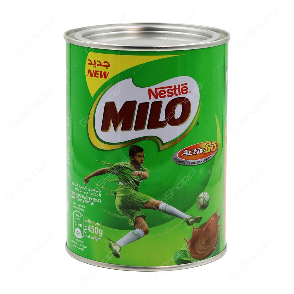Nestle Milo Active Go Sweetened Malt Extract With Cocoa Powder 450 g